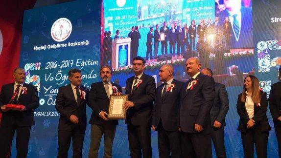 İstanbul Millî Eğitim Müdürlüğüne  5. Eğitim ve Öğretimde Yenilikçilik Ödülleri Bakanlık Ödülü